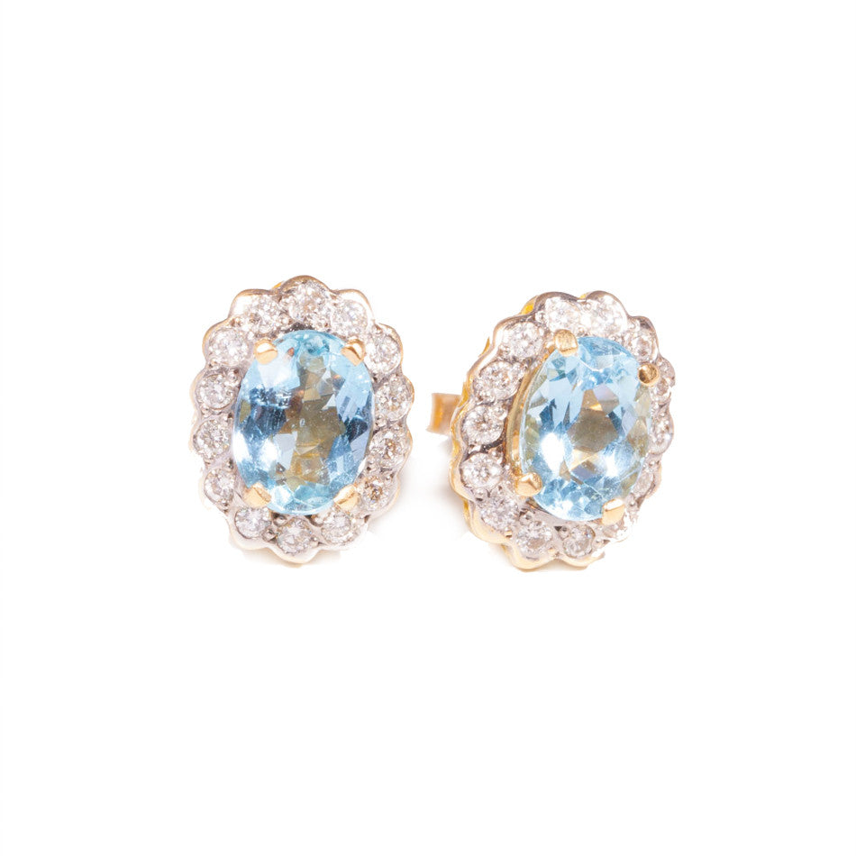 Aquamarine & Diamond Earrings set in 18ct yellow gold