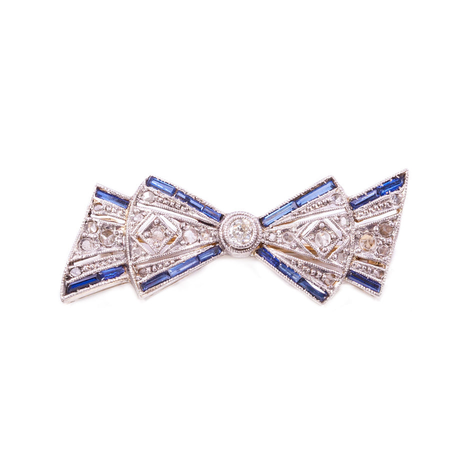 Original Art Deco Platinum Diamond & Sapphire Bow Brooch