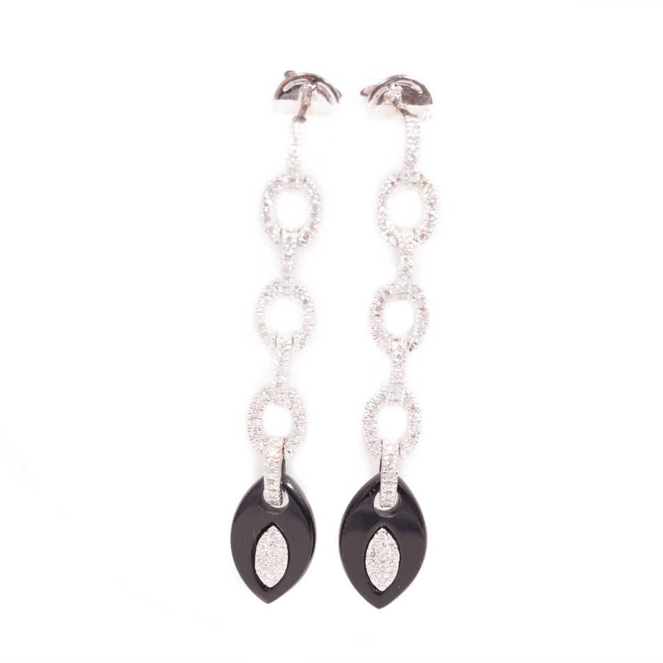 Art deco Style Onyx and Diamond Earrings in 18ct