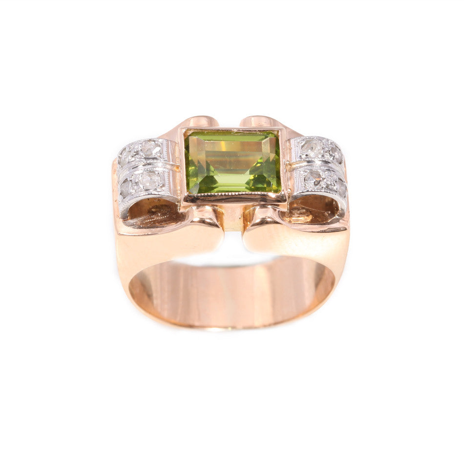 Art Deco Peridot & Rose Cut Diamond Ring set in 18ct gold