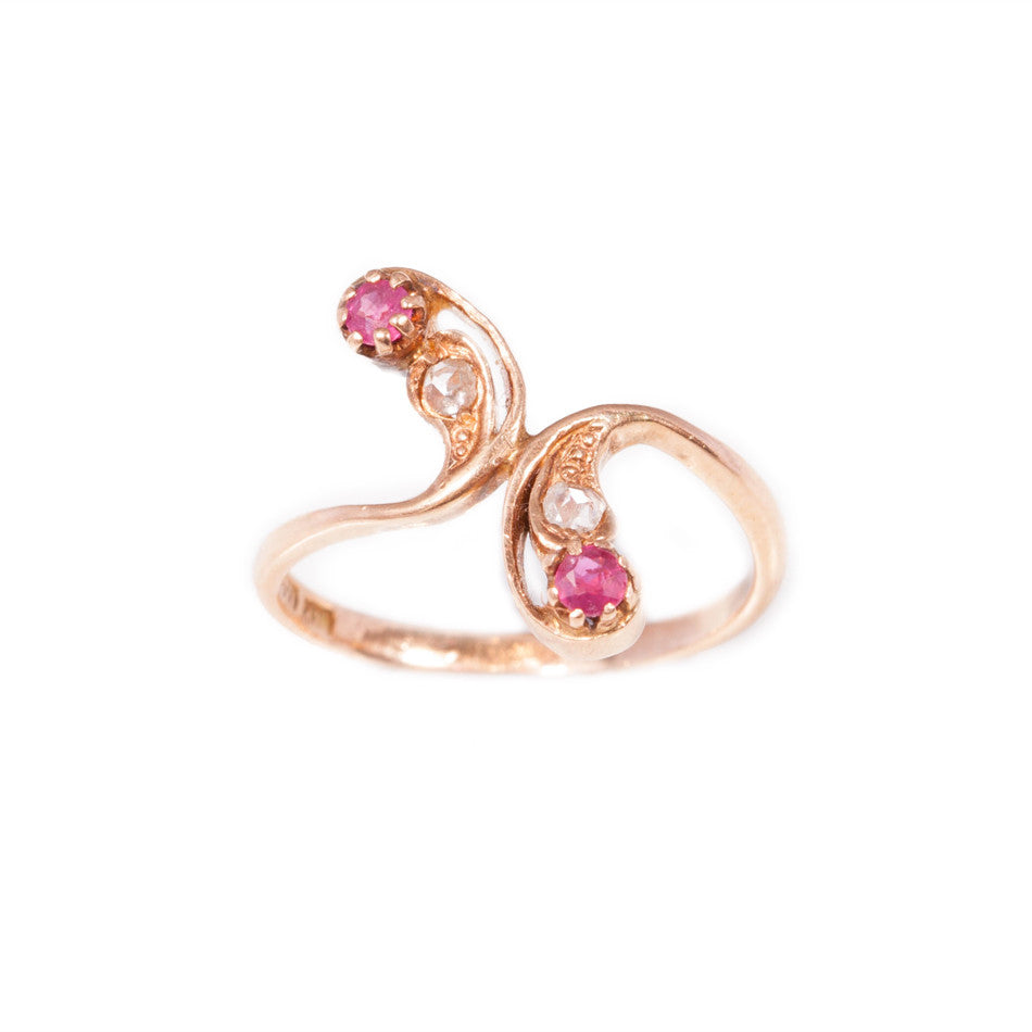 Art Nouveau Ruby & Rose Cut Diamond Ring in 14ct