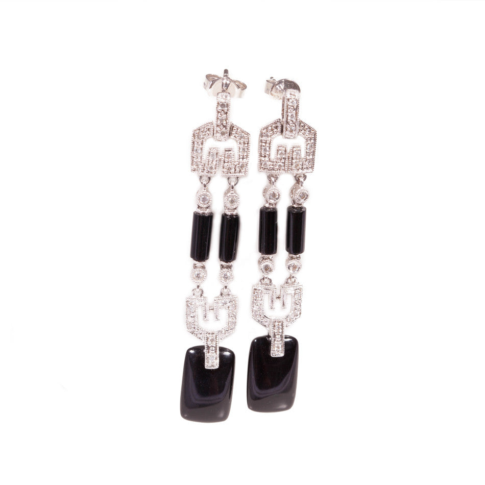 Art Deco Style Onyx & Diamond Earrings in 18ct white gold.