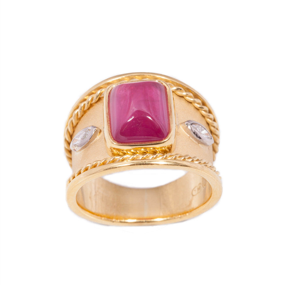 Cabachon Ruby and Diamond ring in 18ct