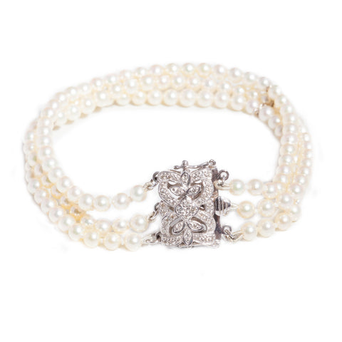 Cultured Pearl Bracelet with Diamond & 18ct clasp