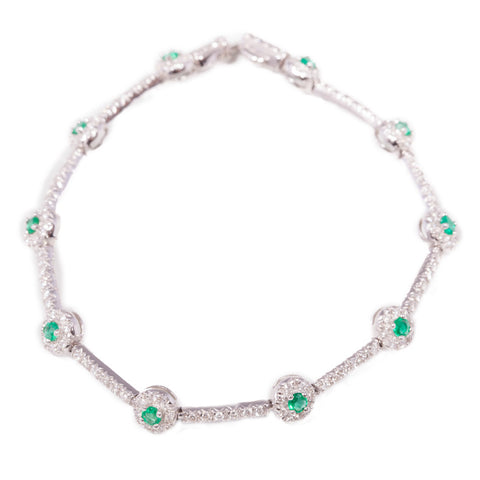 Diamond & Emerald Tennis Bracelet set in 14ct