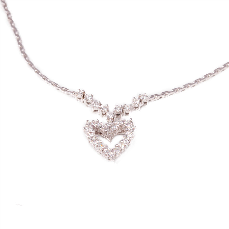 Diamond Heart Pendant in 14ct white gold