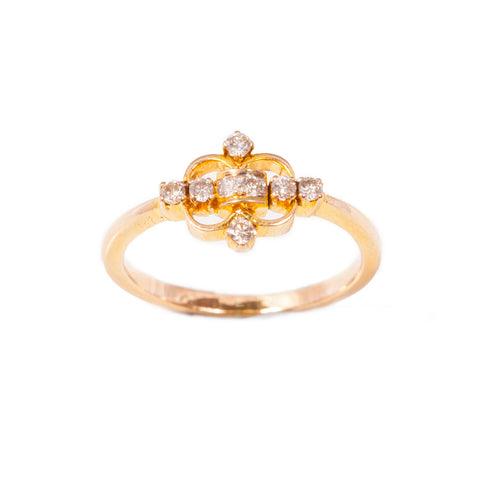 Vintage fleur de lys diamond ring in 18ct yellow gold