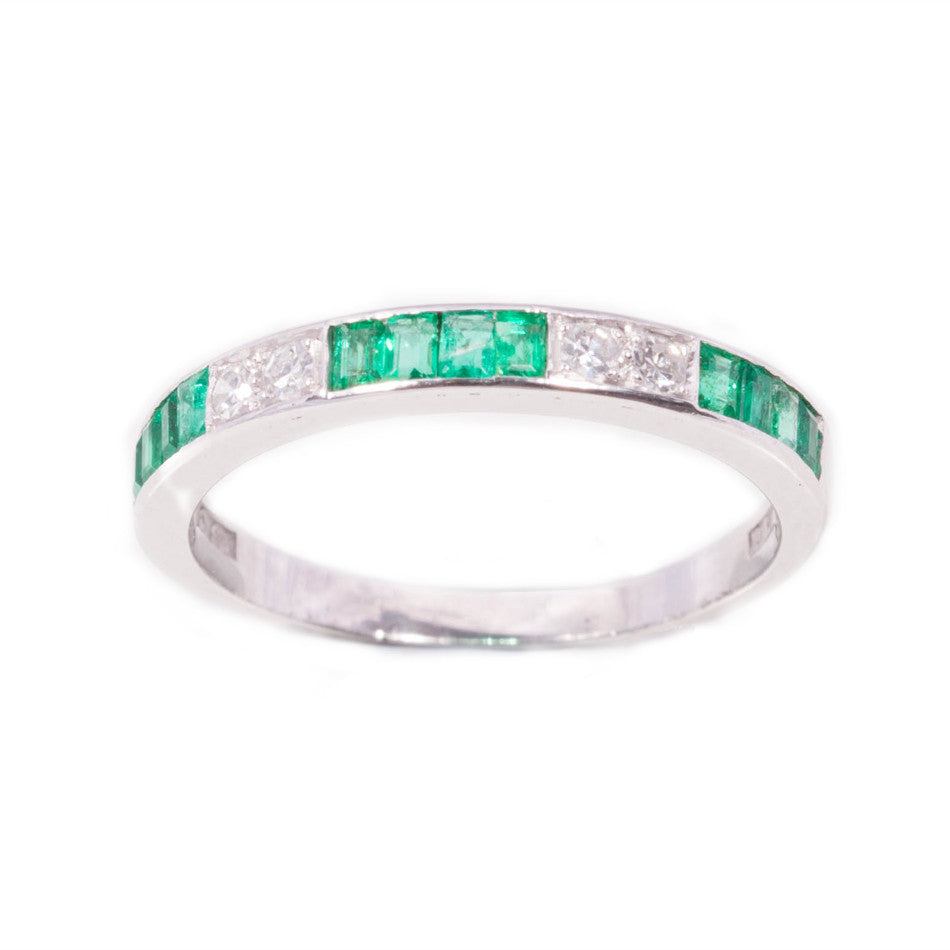 Emerald & Diamond Band in Platinum  & 18ct white gold