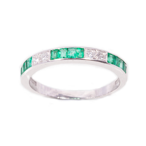 Art Deco Style Emerald & Diamond Band in Platinum & 18ct
