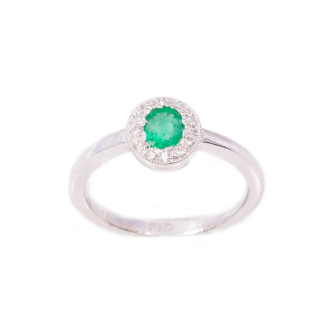 Art Deco Style Emerald & Diamond Ring in 18ct white gold
