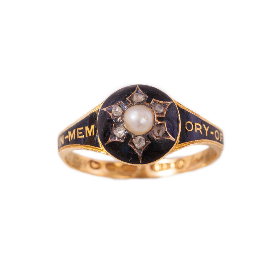 Victorian diamond & pearl mourning ring in 18ct