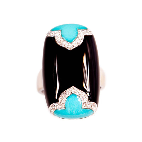 Art Deco Style Turquoise & Onyx Ring in 18ct
