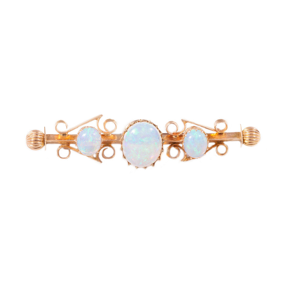 Magnificent Antique white opal brooch set in 15ct yellow gold.