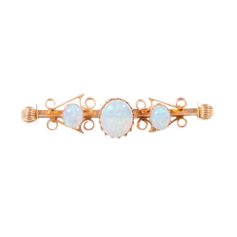Antique white opal brooch in 15ct gold