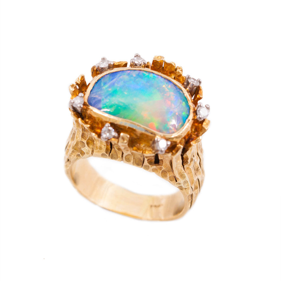 Vintage Black Opal & Diamond Ring in 18ct