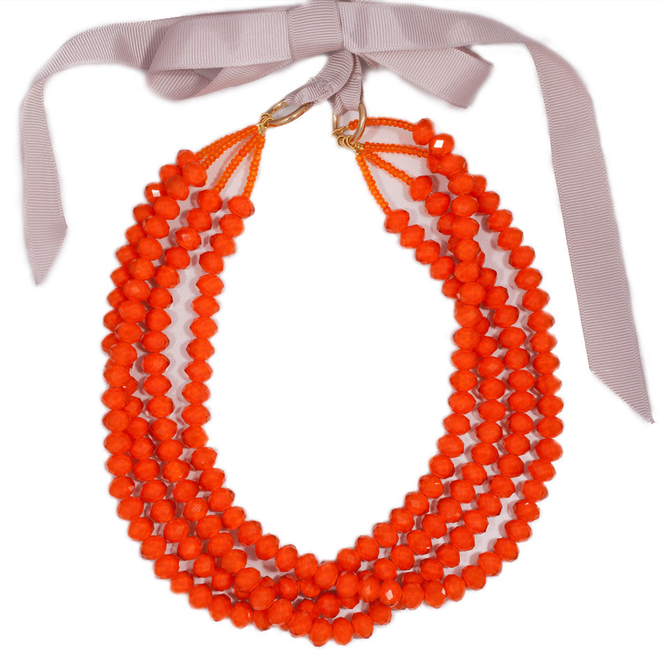 orange statment bead necklace