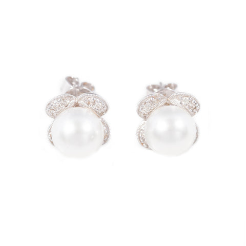 South Sea Cultured Pearl & Diamond Earrings in 18ct