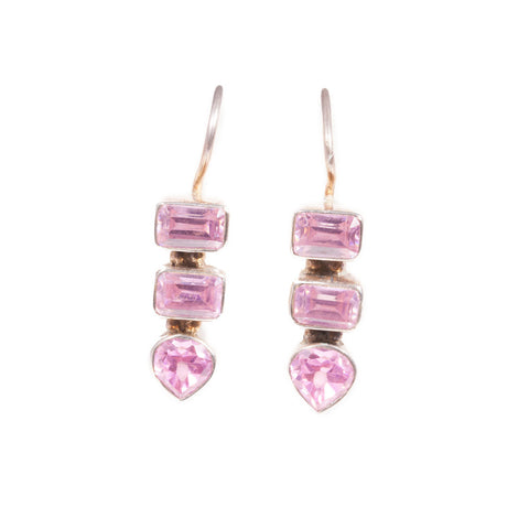 Pink Topaz Earrings in sterling silver