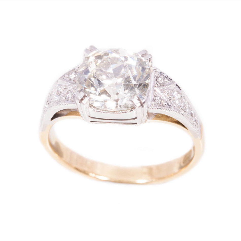 Stunning Art Deco Style Old Cut Diamond Ring in 18ct