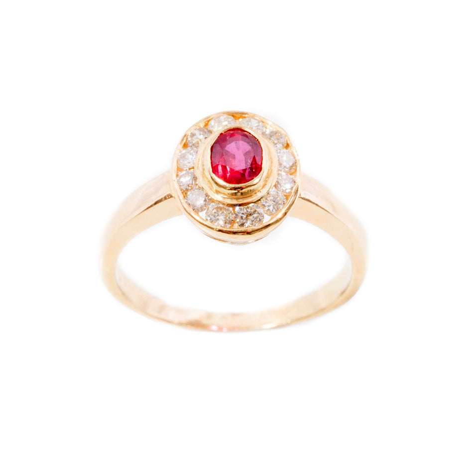 Ruby & diamond cluster ring in 18ct yellow gold