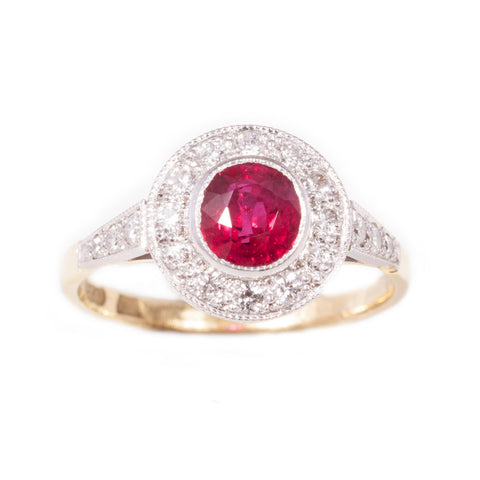 Ruby & Diamond Art Deco Style Cluster ring in 18ct