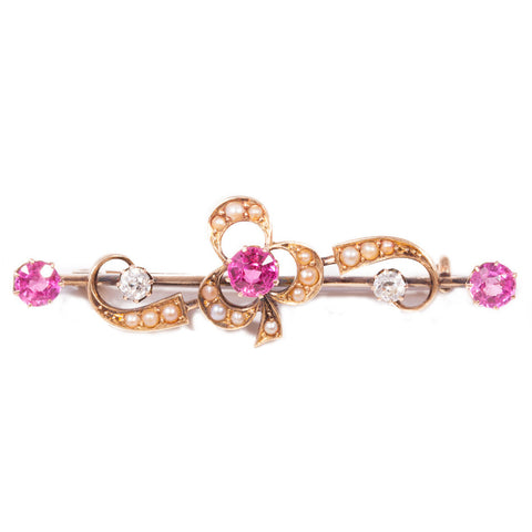 Antique Diamond & Ruby & Pearl Brooch in 18ct