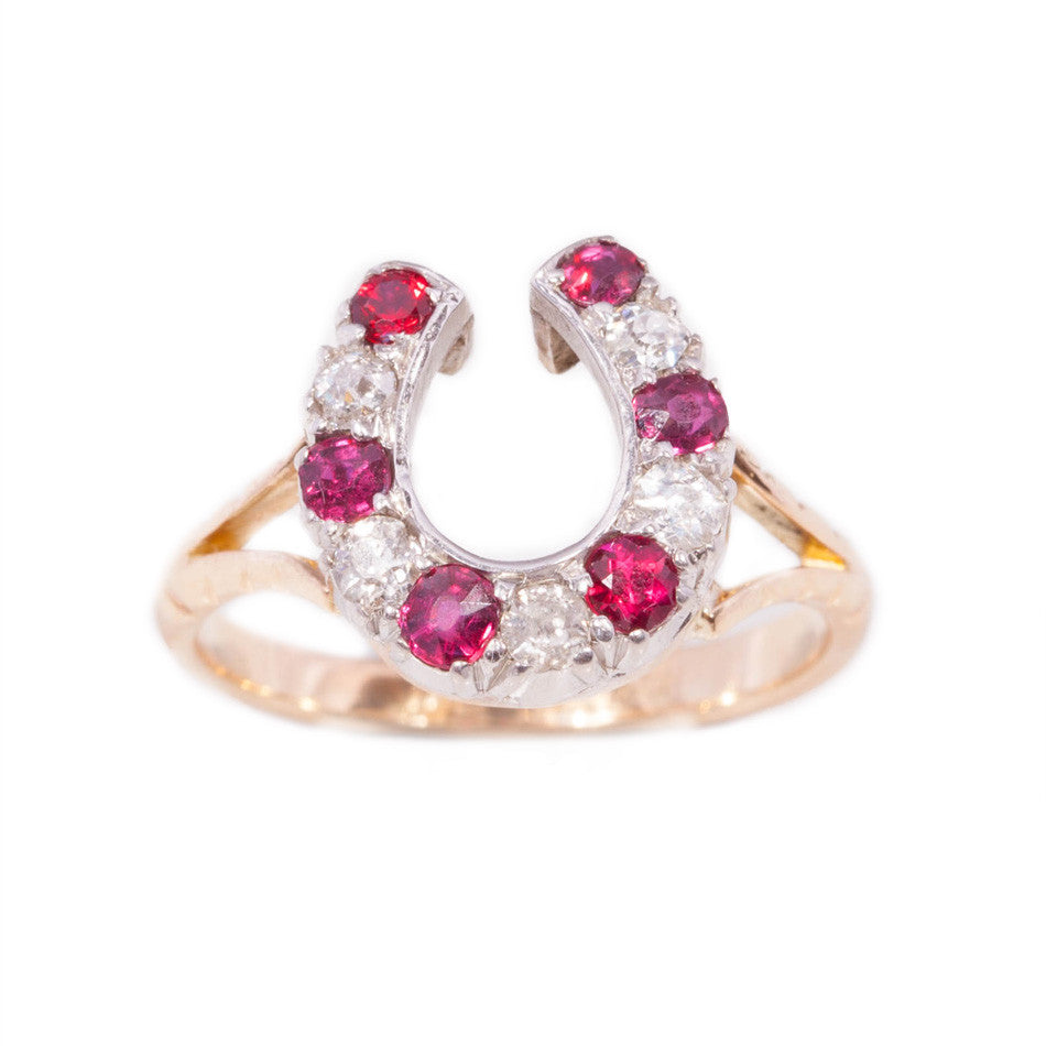 5934d5a7b7 Antique Ruby and Diamond Horseshoe Ring in 18ct yellow gold ...