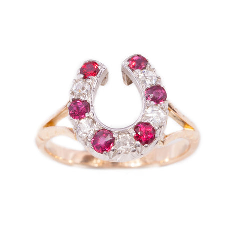 Antique Ruby and Diamond Horseshoe Ring in 18ct yellow gold