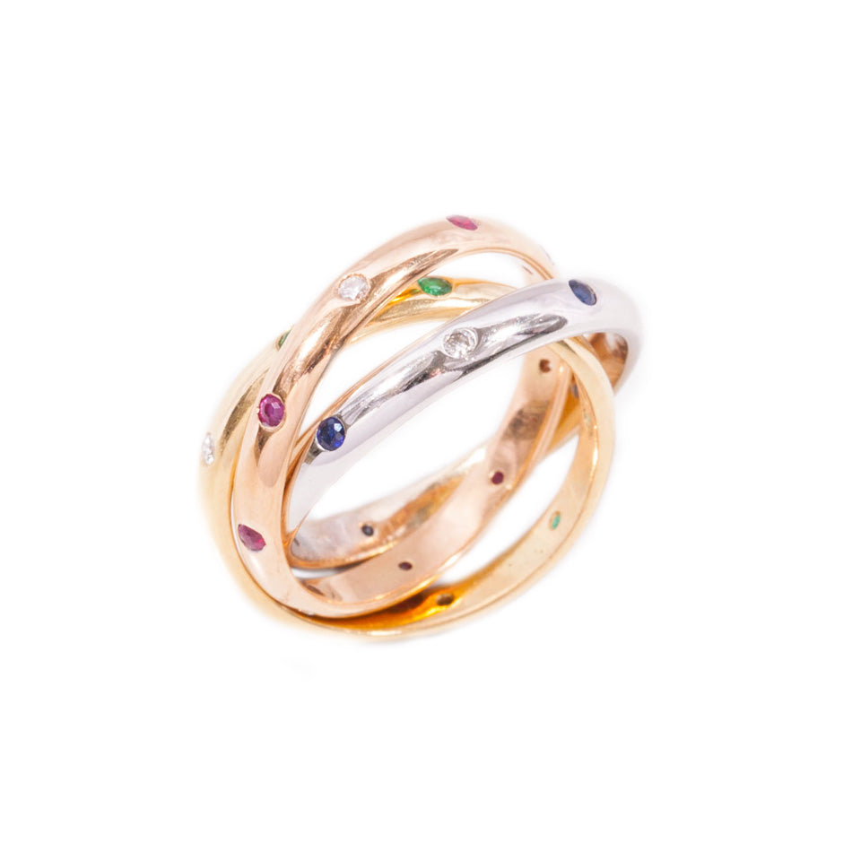 Russian Wedding Ring With Diamonds In 18ct Yellow, Rose & White Gold