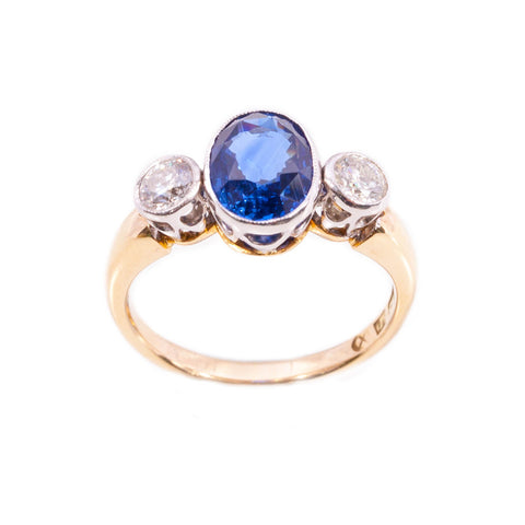 Handmade Ceylon Sapphire & Diamond Ring in 14ct gold