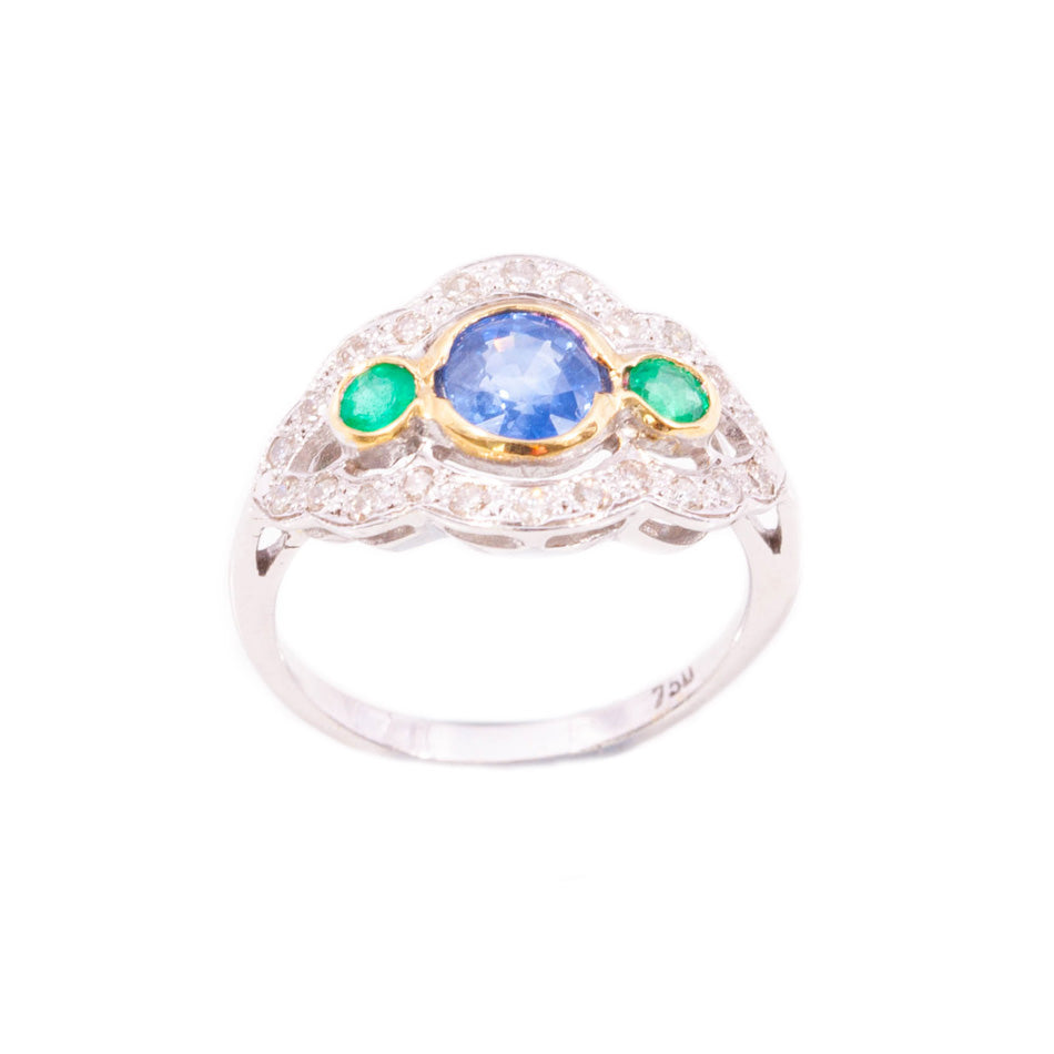 Vintage Art deco Style Sapphire, Emerald & Diamond Ring in 18ct white gold