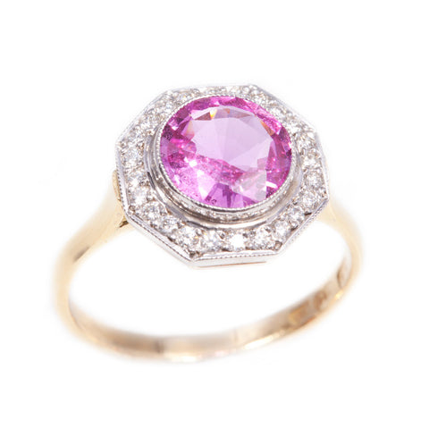 Handmade Pink Sapphire & Diamond Ring in 18ct gold