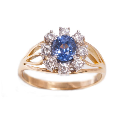 Handmade Sapphire and Diamond ring in 18ct