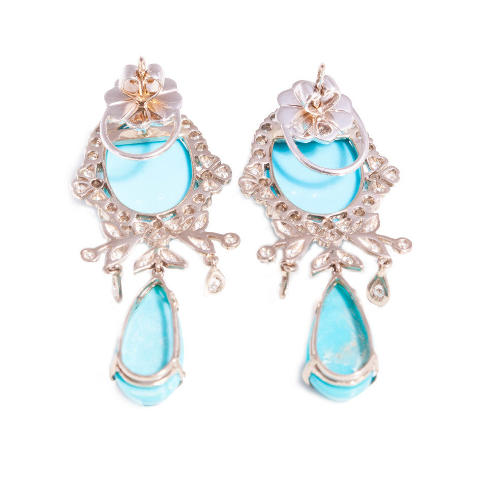 Turquoise and Diamond Chandelier Earrings in 18ct white gold ...