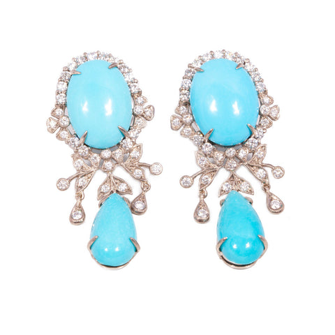 Turquoise and Diamond Chandelier Earrings in 18ct white gold