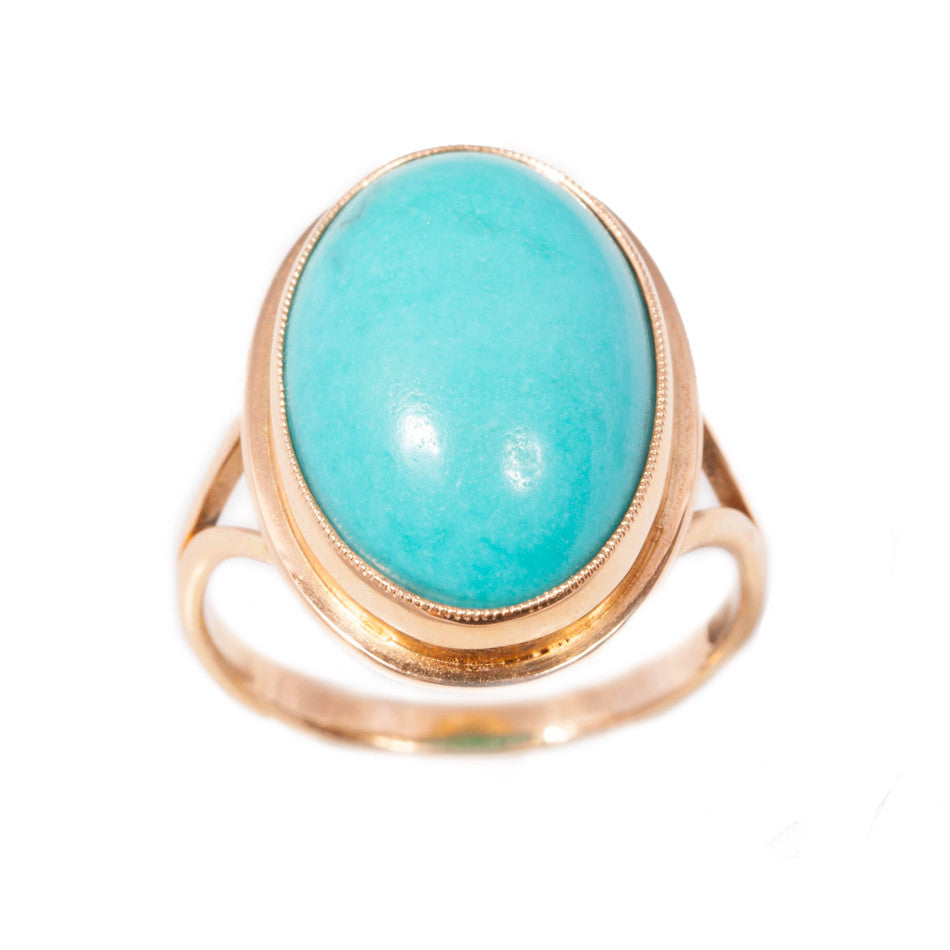 Handmade Turquoise Ring in 14ct gold