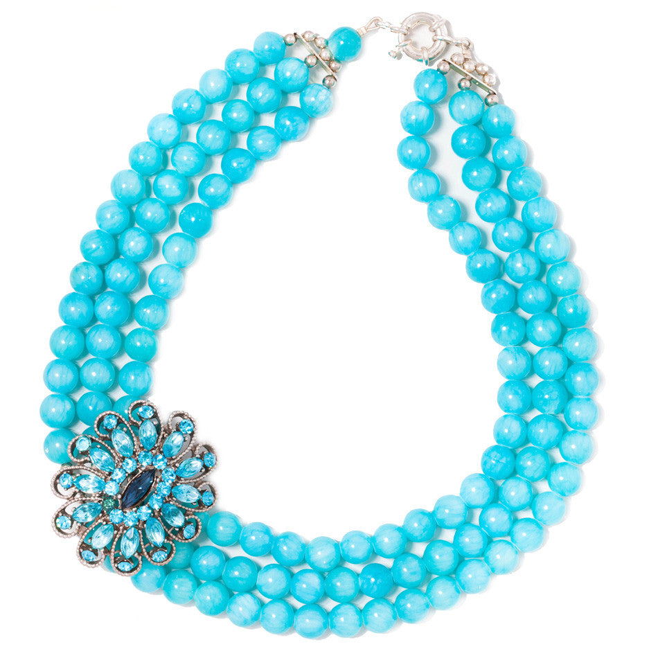 Turquoise blue bead statement necklace