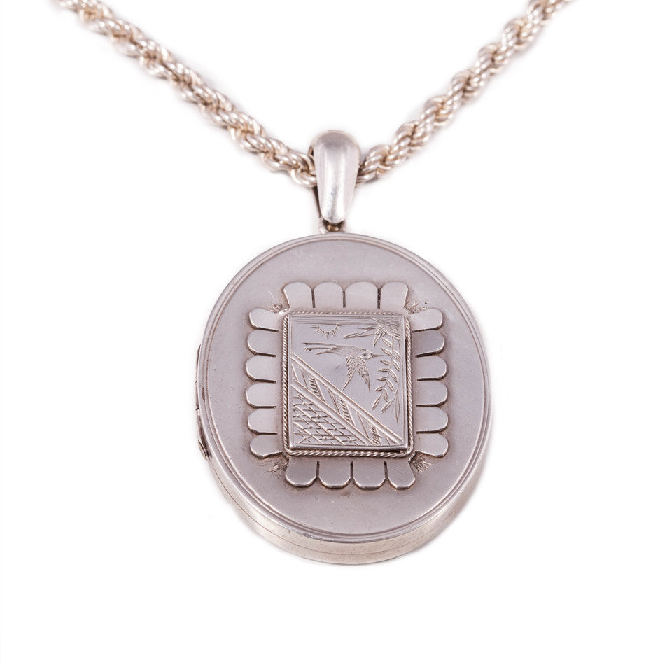 Victorian Sterling Silver Oval Locket & Chain