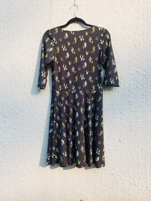 Black Cactus Dress - 3/4 Length Sleeve
