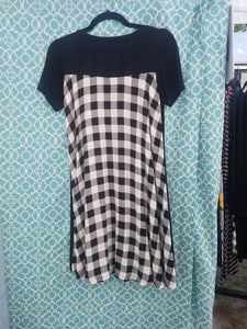Black Jersey Gingham Dress