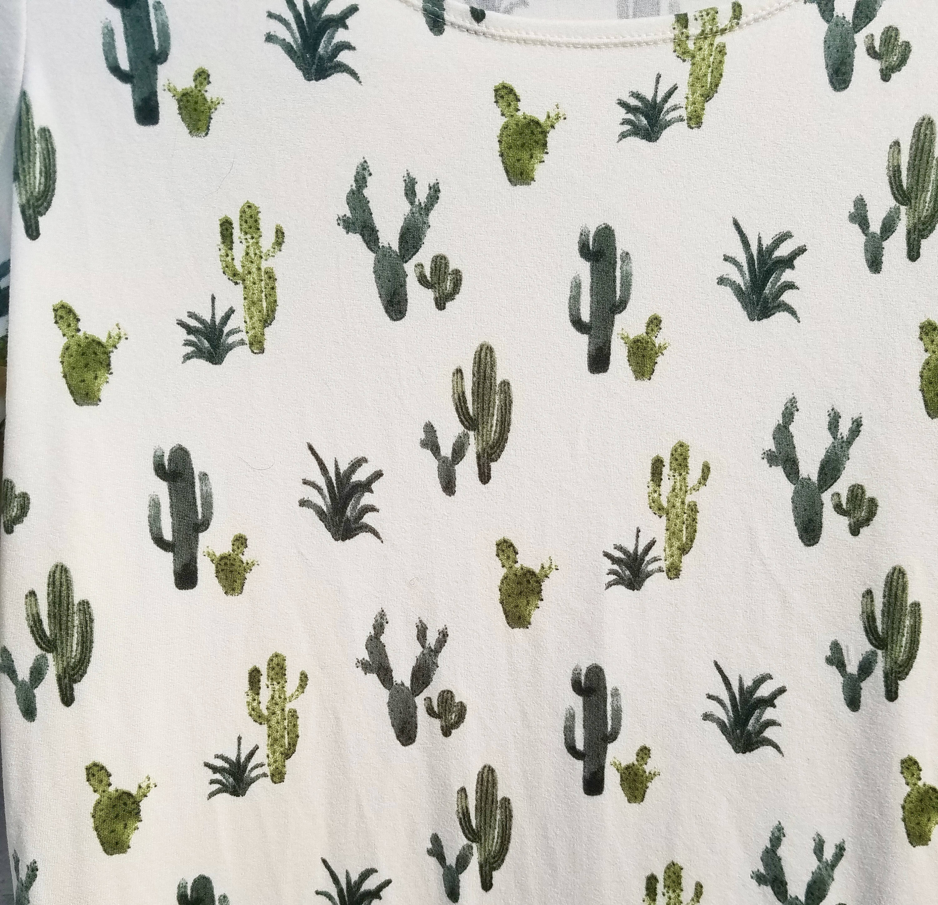 Cream Fabric/Green Cactus dress – 3/4 Sleeve Dress