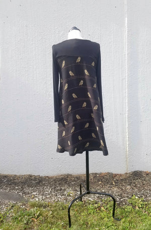 Black Bamboo Owl Dress