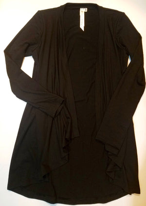 Black bamboo and wool waterfall cardigan