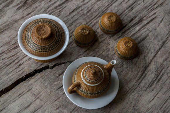 Wicker wrapped Tea Ware