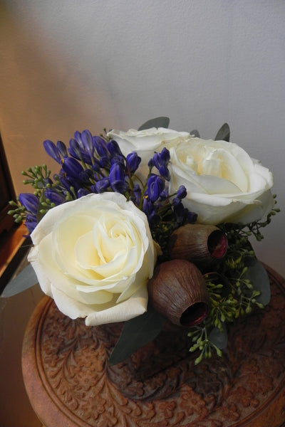 White Roses with Seed Pods and Eucalyptus