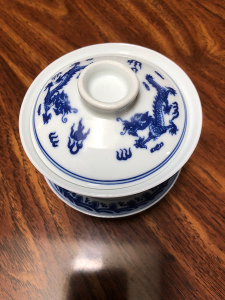 Large porcelain  gaiwan with dragon motif