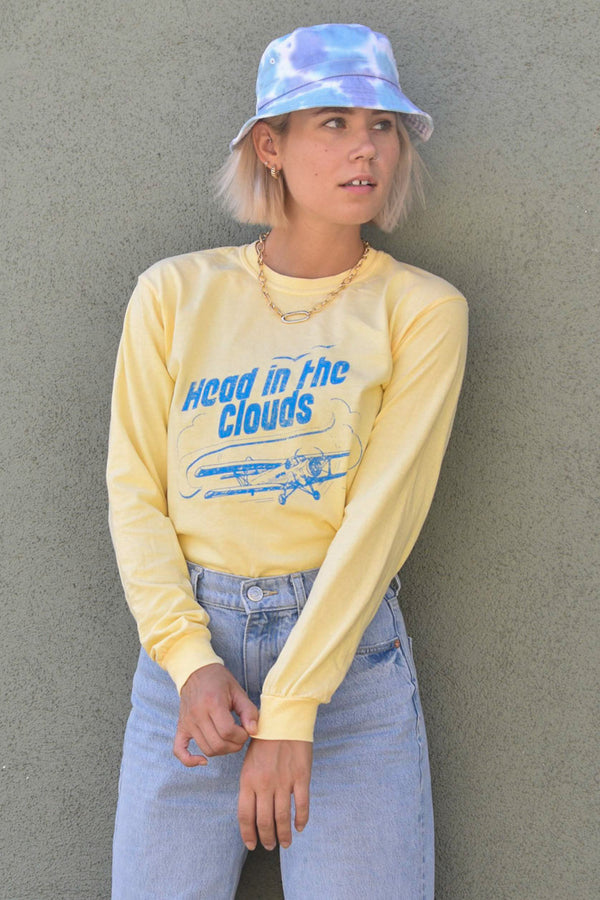 HEAD IN THE CLOUDS - LEMON COTTON LONG SLEEVE TEE
