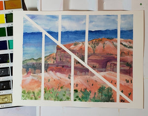 "Original contemporary watercolor painting, ""Redrock Lines"", 10x8 inches"