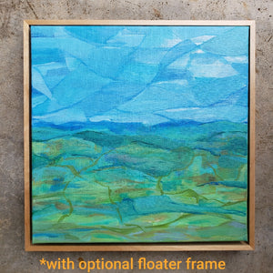 """Green and Blue"" Original abstract landscape painting by Kasey Wanford"