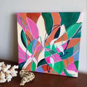 """Care and Feeding of Houseplants"" Original abstract painting by Kasey Wanford"